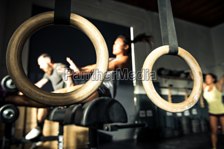 close up of gymnasium rings with