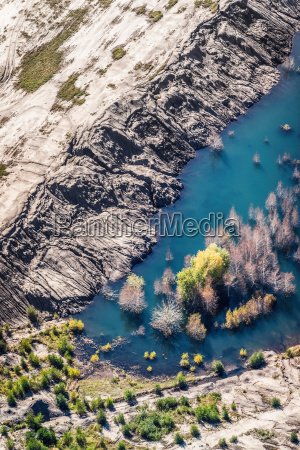 aerial view of land and water