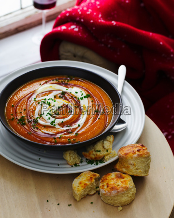 bowl of maple carrot soup with