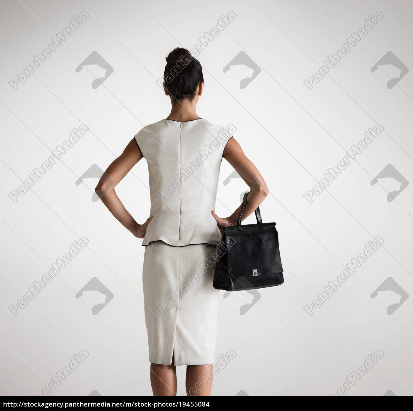 woman, holding, handbag, , rear, view - 19455084