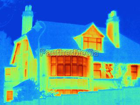 thermal image of house on city