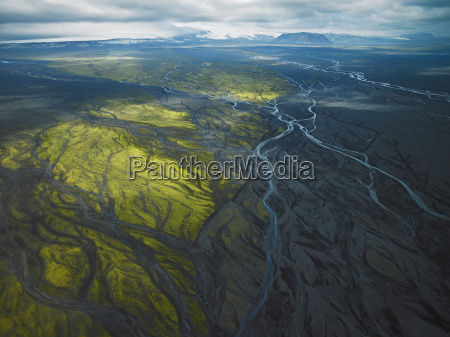 aerial view of glacial river near