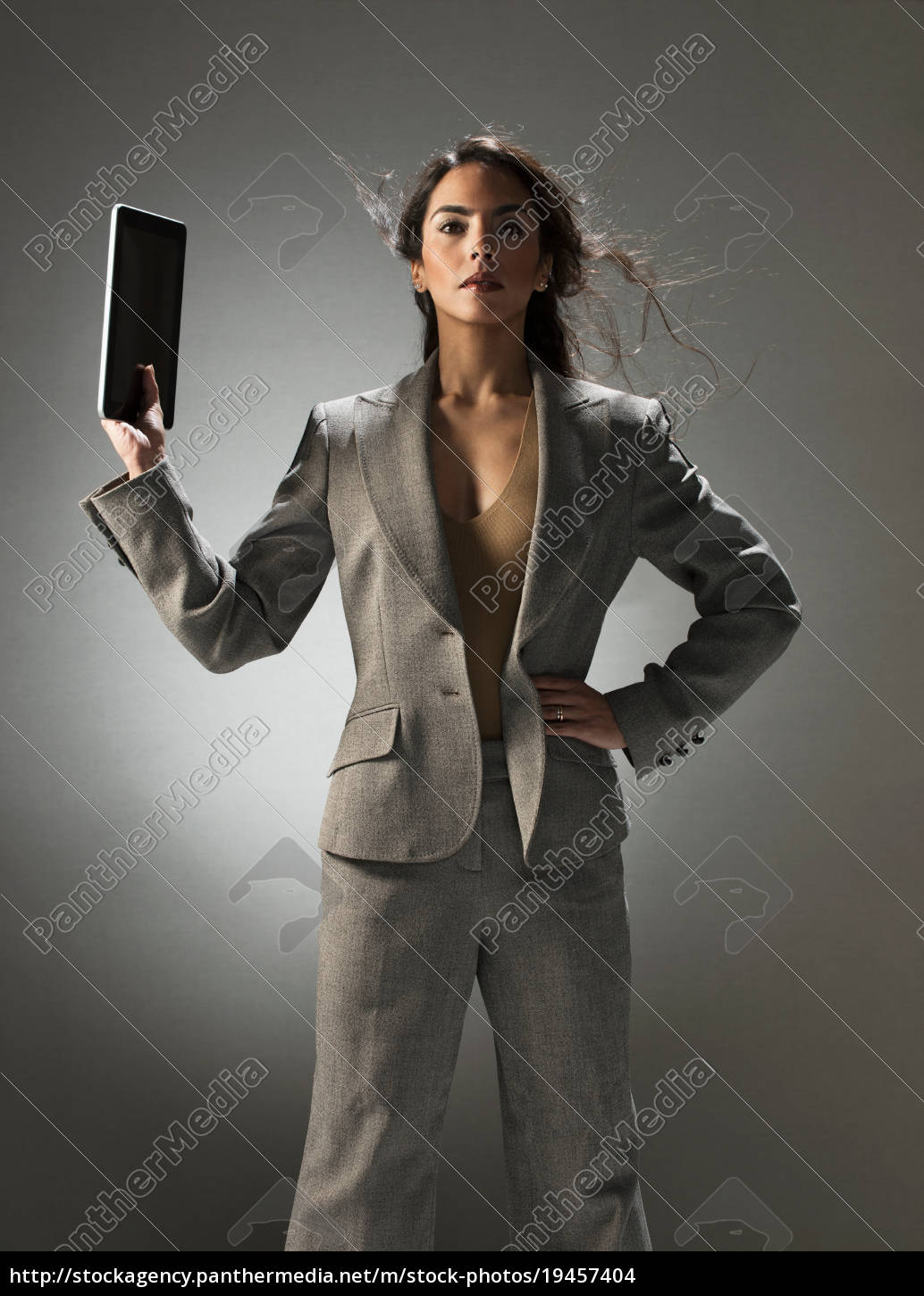 businesswoman, holding, tablet, computer - 19457404