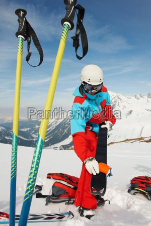 skier preparing equipment kuhtai austria