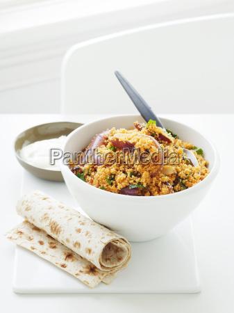 bowl of saffron and cous cous