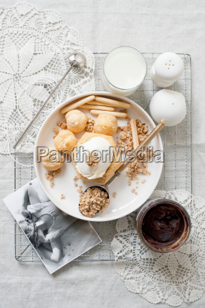 plate of cream puffs with oatmeal