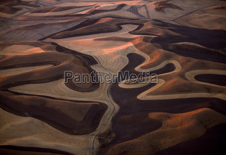 aerial of wheatfields palouse washington usa