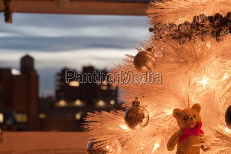 teddy bear christmas decoration on christmas