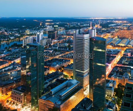aerial view of business district at