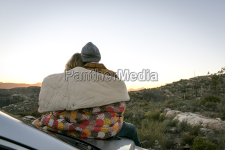 rear view of young couple by