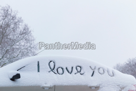 i love you drawn in snow