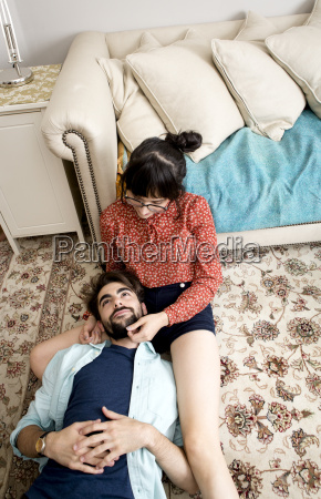 overhead view of young hipster couple