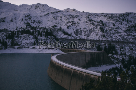 kops reservoir dam and snow covered