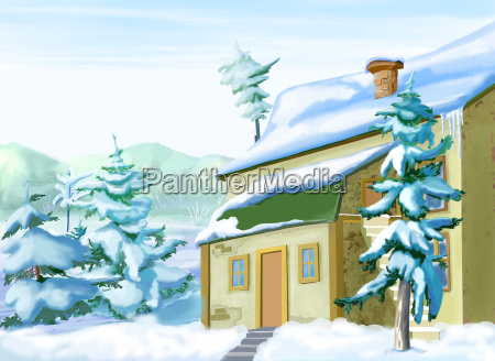 vacation home in a snowy winter