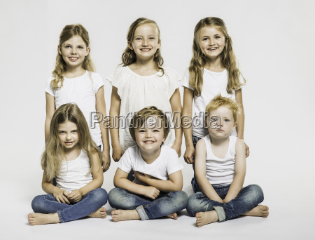 studio portrait of four girls and