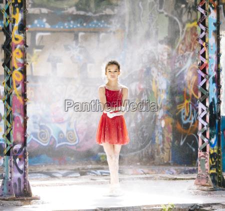 portrait of ballet dancer girl covered