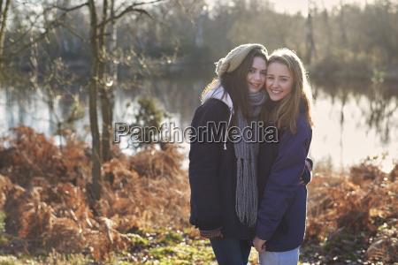 portrait of teenage girls outdoors