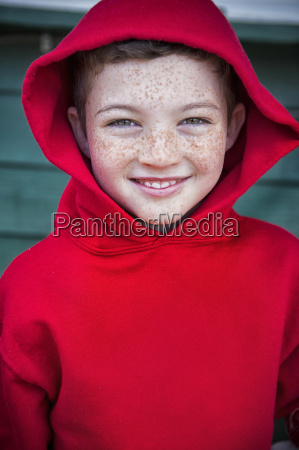 portrait of happy boy with face