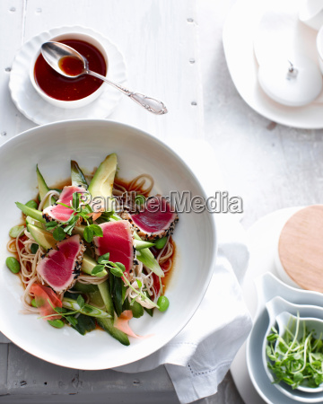 plate of seared tuna on soba