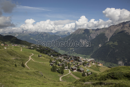 view of village in valley bettmeralp