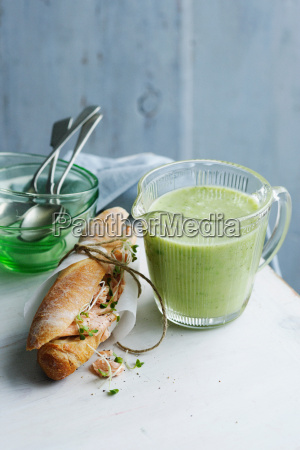 jug of cucumber trout soup with