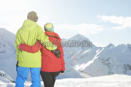 couple looking at mountains kuhtai austria