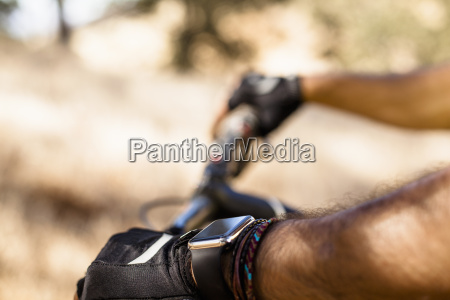 close up of male mountain biker
