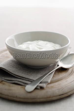 schuessel mit joghurt auf holzbrett