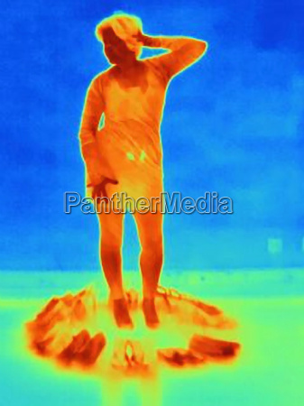 thermal image of woman trying on