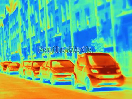 thermal image of parked cars on