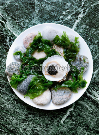 plate of oysters with caviar and