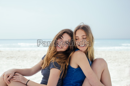 portrait of two young female friends