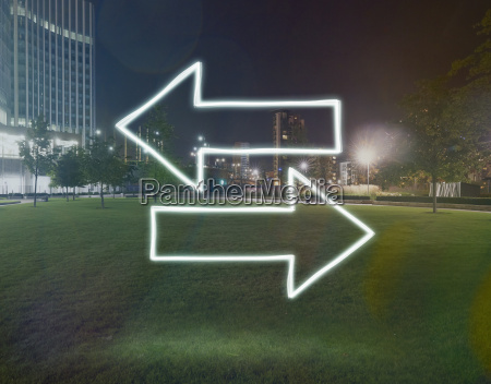glowing direction arrows pointing opposite directions