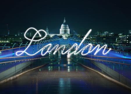 glühendes, handschriftliches, london, vor, der, millennium - 19498946