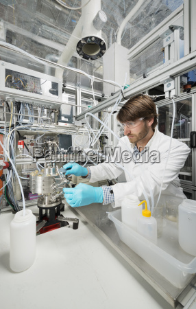 male scientist doing research on a