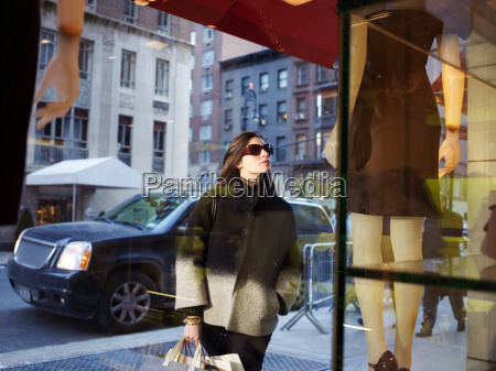 elegant woman in new york street