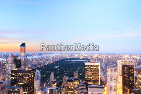 view of manhattan skyline and central