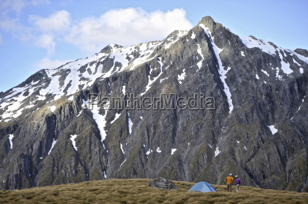 two people camping in mountains new