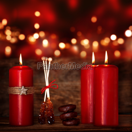 red candles for christmas