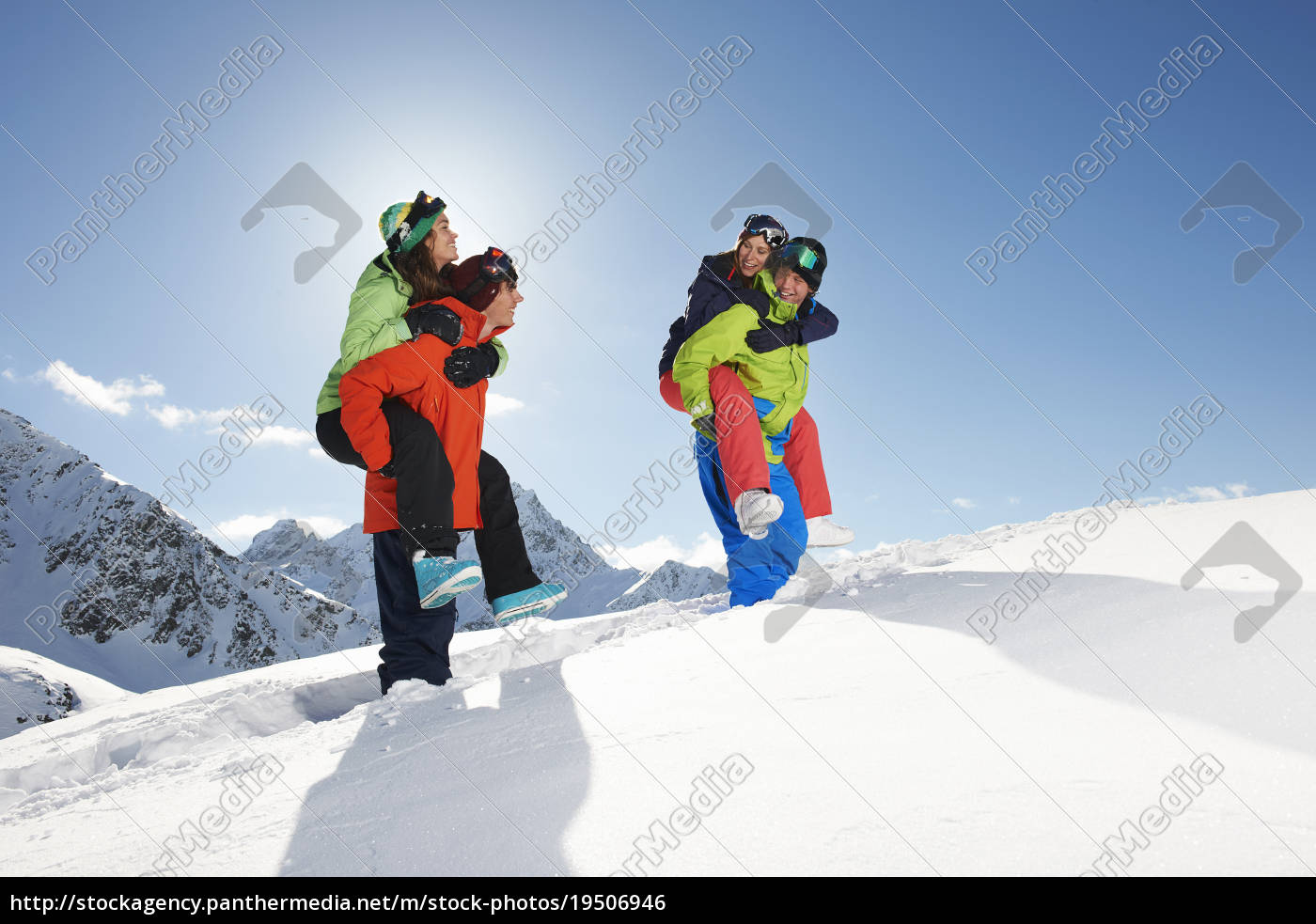 friends, giving, piggy, backs, in, snow, - 19506946