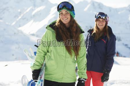 friends, holding, snowboards, , kuhtai, , austria - 19506922