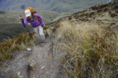 mid adult woman hiking new zealand