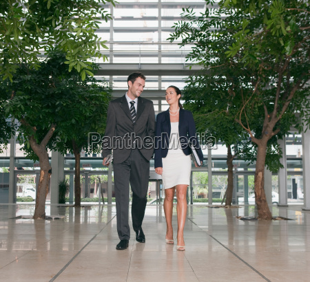 business couple in lobby