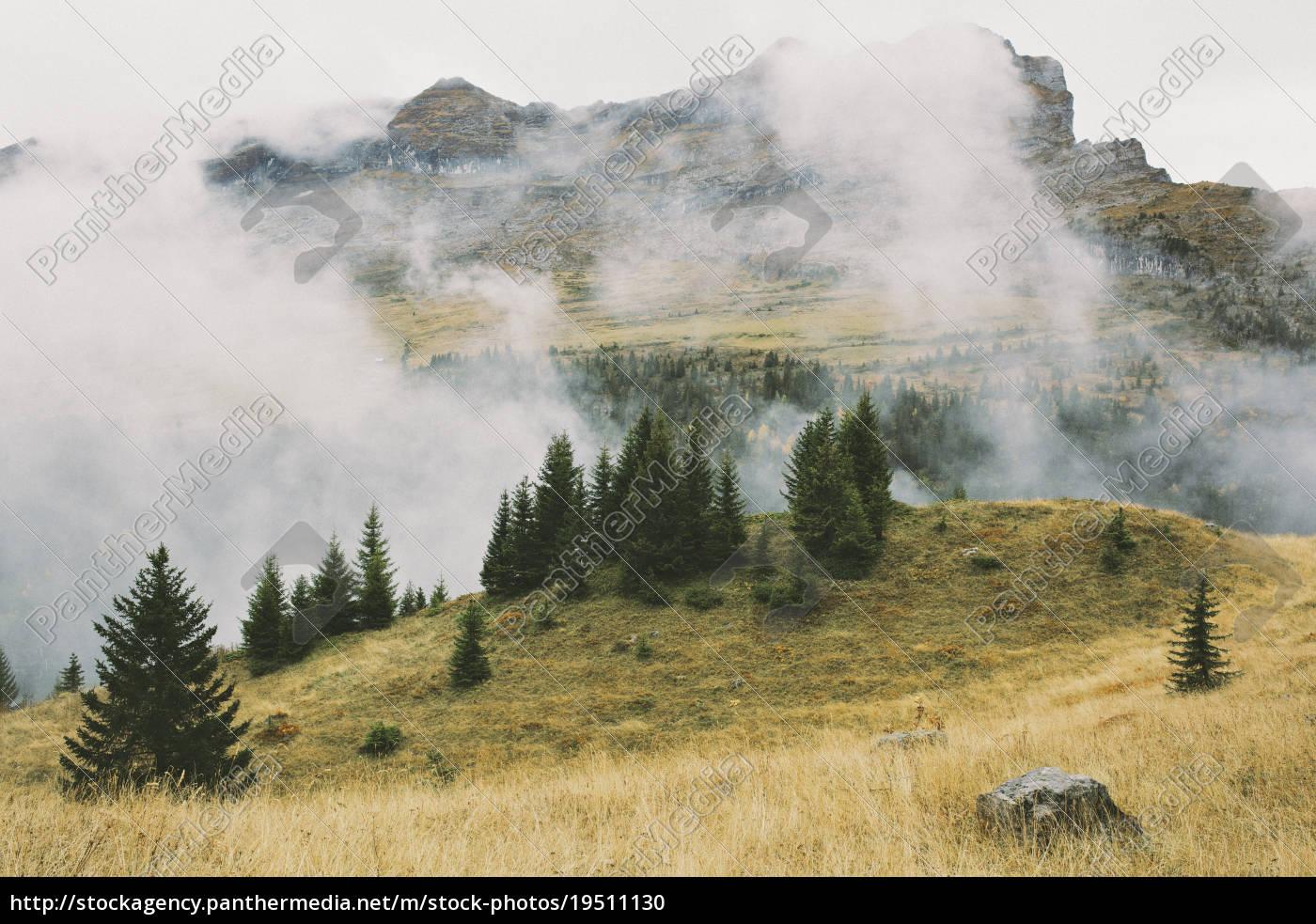 berglandschaft, und, wolke, flaine, französisch, alpen, frankreich - 19511130
