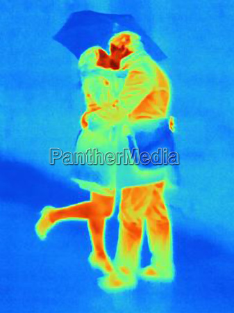 thermal photograph of couple kissing in