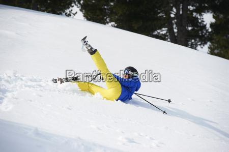 skier fallen on slope