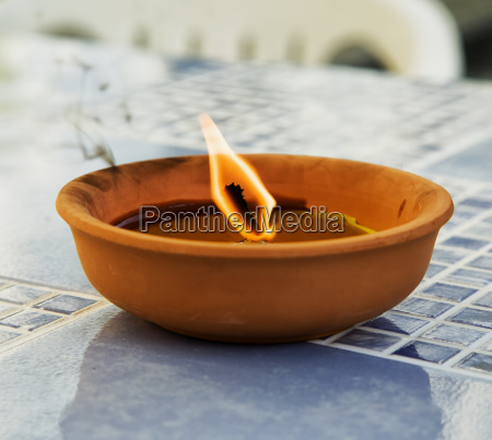 candle in earthenware jar