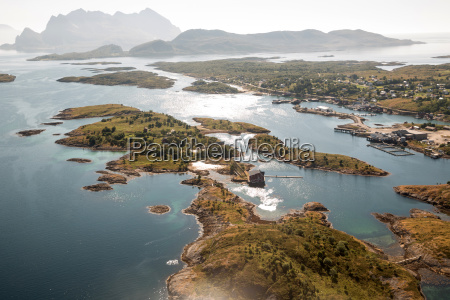 aerial view of fjords bodo norway