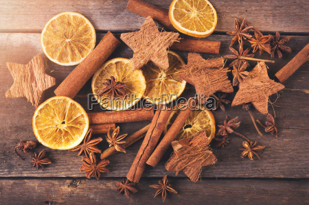 christmas background with spices top view