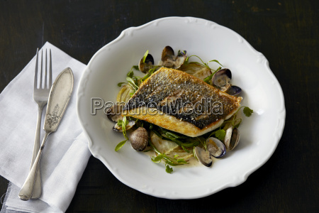 plate of fish and clams with